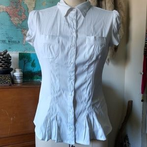 Cotton Express Tops - Peplum style White Button up by Cotton Express